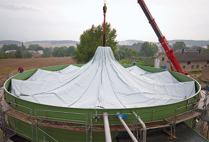 Foil roof during construction
