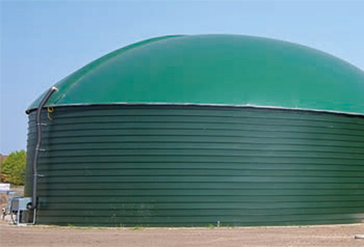 Lipp post digester with double skin roof